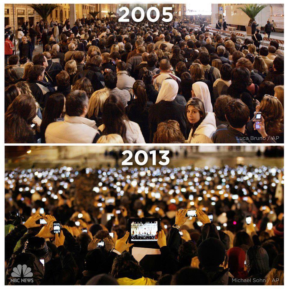 O anúncio do Papa Bento XVI (2005) e do Papa Francisco I (2013)..