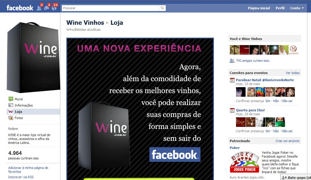 Loja Wine no Facebook